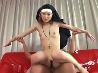 Asian Japanese  Nun Riding Skinny Small Tits Uniform Riding Tits