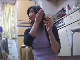 Asian Kitchen  Smoking Wife Kitchen Sex