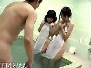 Asian Pool Threesome Family