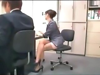 Asian Glasses Legs  Office Secretary Stockings Stockings        Office Pussy