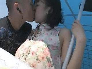 Asian Girlfriend Kissing Outdoor Public Outdoor Public Asian Public