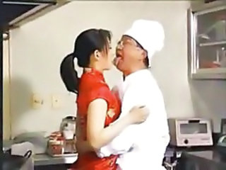 Asian Chinese Daddy Kitchen Old and Young Chinese Daddy Old And Young