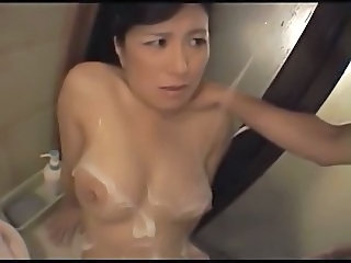 Asian Japanese  Mom Old and Young Showers Bathroom Mom Shower Mom Son Old And Young  Bathroom  Mom Son Mother